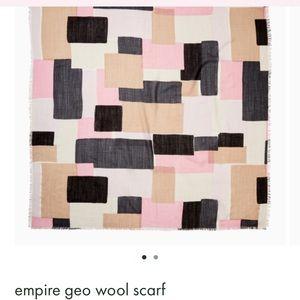 Kate Spade wool scarf pink tan black squares